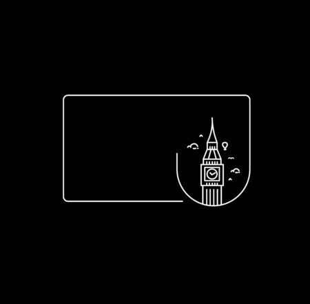 A Clock Tower Hand Drawn, Big Ben London - Outline for Design Vector Illustration