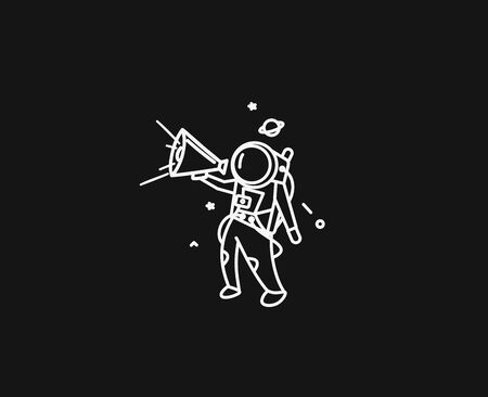 Astronaut is calling for a sale ( announcement ) - Flat Line Art Design Illustration.  イラスト・ベクター素材