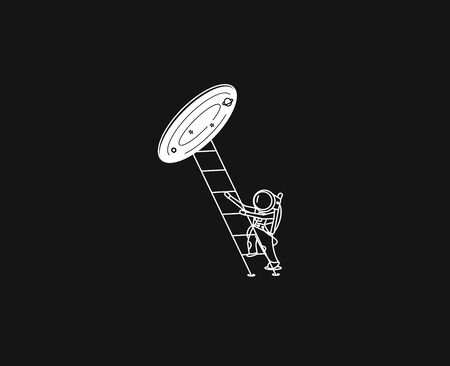 Astronaut climbs the stairs into wormhole - Flat Line Art Design Illustration.  イラスト・ベクター素材