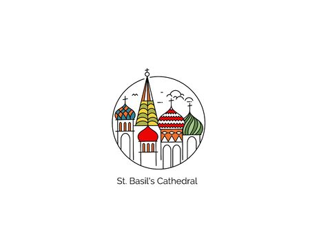 St Basils Cathedral, Red Square, Moscow, Russia. Flat Line Art Vector illustration 일러스트