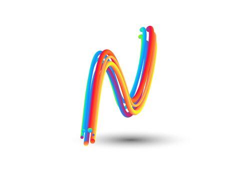Branding Identity Corporate vector 3d logo N design. Vector Illustration.