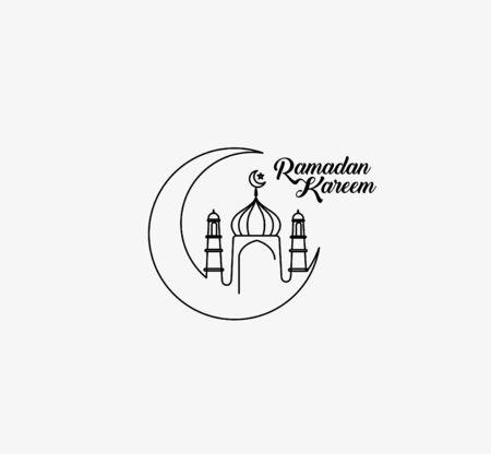 Eid Mubarak celebration- Mosque. Vector illustration.
