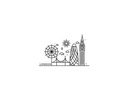 London Skyline Silhouette in black and white, Vector Illustration.