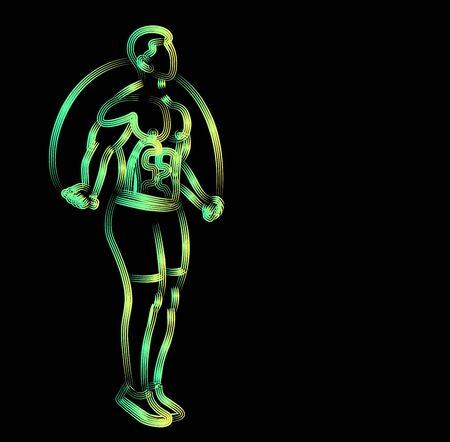 Bodybuilding Sport and activity athlete skipping rope line art drawing, Line art vector illustration. Illustration