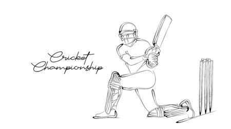 Concept of Batsman Playing Cricket  - championship, Line art design Vector illustration. Illusztráció
