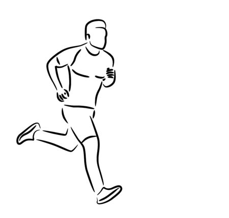 Sport and activity man runner jogger running isolated line art drawing, Vector Illustration.