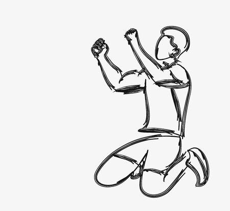 Soccer Player Celebrating - Line art vector illustration.