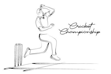 Bowler bowling in cricket championship sports. Line Art design - Vector Illustration. Ilustracja