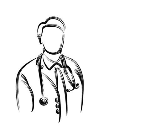 Doctor - Medical Icon, Line Art Design Vector Background. Ilustração