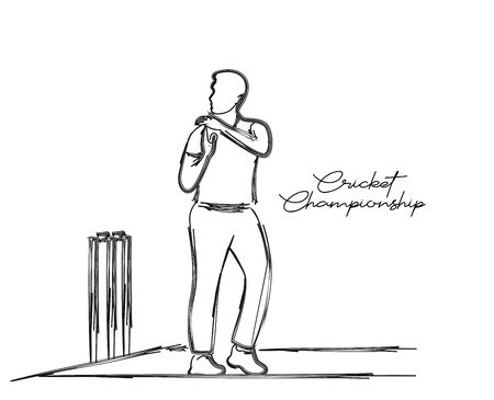 Cricketer Want Review - single line art drawing. Vector Design.