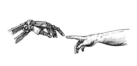 Hands of Robot and Human hands touching with fingers, Virtual Reality or Artificial Intelligence Technology Concept Ilustración de vector