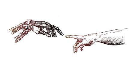 Manos de Robot y manos humanas tocándose con los dedos, concepto de tecnología de realidad virtual o inteligencia artificial