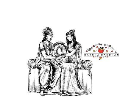 Happy Raksha Bandhan celebration Poster. Subhadra tying Rakhi to Krishna on Raksha Bandhan.