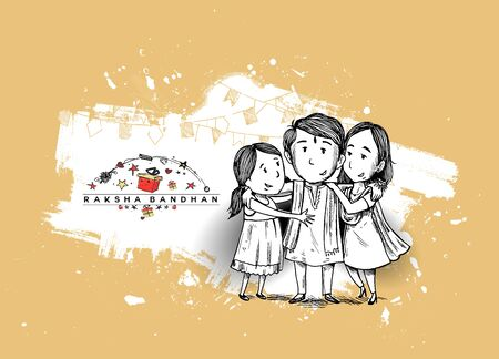Happy Raksha Bandhan celebration Poster. Beautiful frame with  of cute little sister and brother.  イラスト・ベクター素材