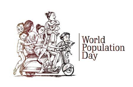 Día Mundial de la Población, 11 de julio, feliz con su familia sentada en scooter Ilustración de vector