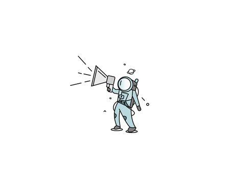 Astronaut is calling for a sale ( announcement ) - Flat Line Art Design Illustration.  イラスト・ベクター素材