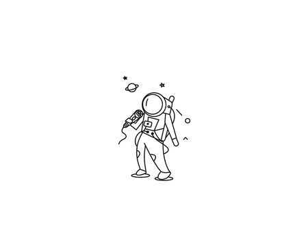 Astronauts singer performing icon, Flat Line Art Vector Design illustration.