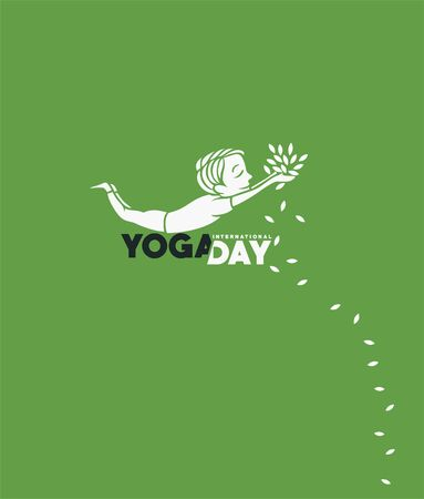 Boy practicing yoga pose, 21st june international yoga day, vector