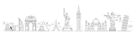 Travel the world monument concept - Vector Flat Line Art Design. Illustration