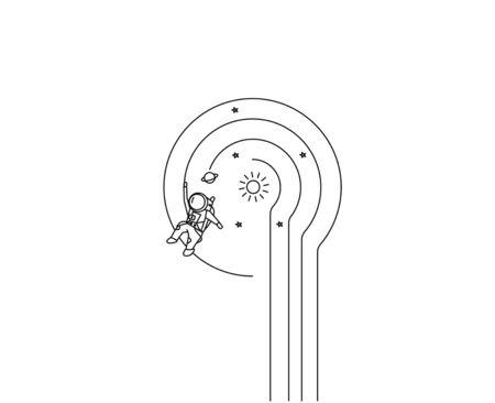 Astronaut falling down in a cosmos - Flat Line Art Design Illustration. Иллюстрация