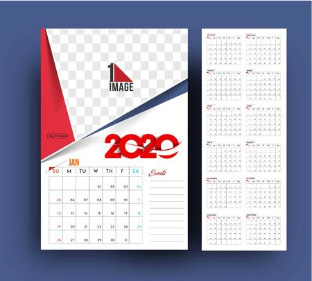 Happy new year 2020 Calendar - New Year Holiday design elements for holiday cards, calendar banner poster for decorations, Vector Illustration Background.