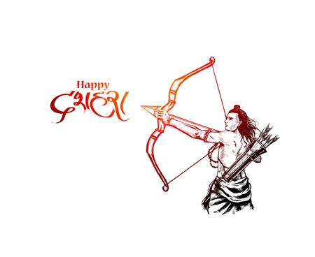 Lord Rama with arrow killing Ravana in Navratri festival of India poster with hindi text Dussehra, Vector illustration.