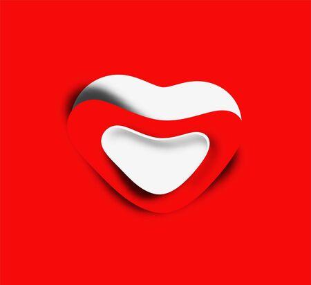 Valentines day paper curl heart, vector illustration. Illustration