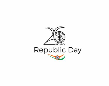 Indian Republic day concept with text 26 January. Vector Illustration.  イラスト・ベクター素材