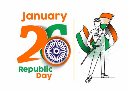 26 january Republic day concept with a boy holding indian flag. Cartoon Vector background.