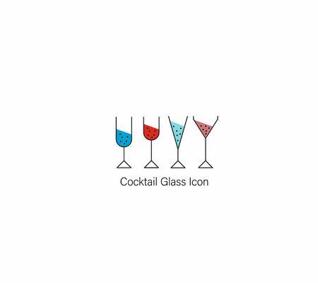 Line Drawing  Glasses of Wine. Vector Illustration.