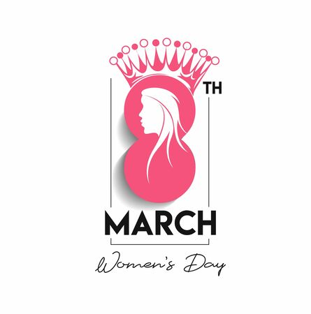 8 march Happy Womens Day Stylish Typography Text.