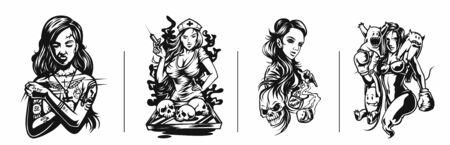 Set of T-shirt design Art nouveau woman tattoo and t-shirt design Standard-Bild - 140113626