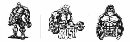 Set of T-shirt Design Bodybuilder strict coach bodybuilding and fitness Ilustrace