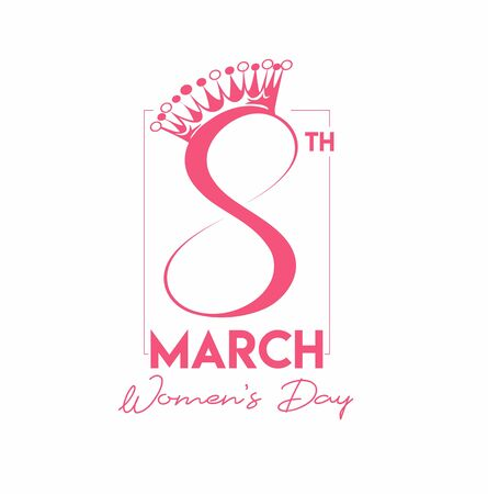8 march Happy Women's Day Typography Text on white