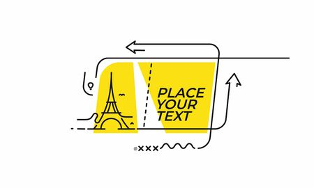 Flat Eiffel Tower with linear promotion ribbon, banner, scroll,  sticker, badge, price tag, poster.