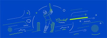 Cricket horizontal banner batsman championship background. Use for cover, poster, template, brochure, decorated, flyer, banner. Illustration