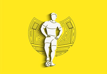 Soccer Player Man Standing - Line Art Design, Vector Illustration.