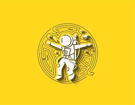 Astronaut falling down - Flat circle Line Art Design Illustration.