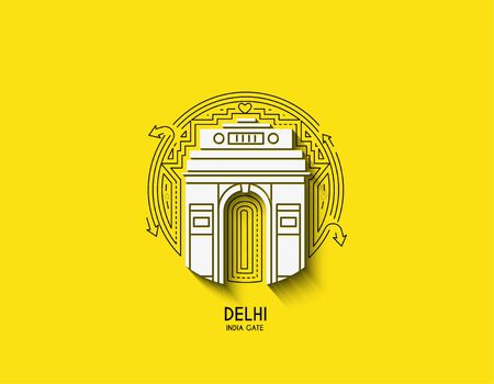 Gateway of India icon, Element design in outline style. Line art vector illustration.