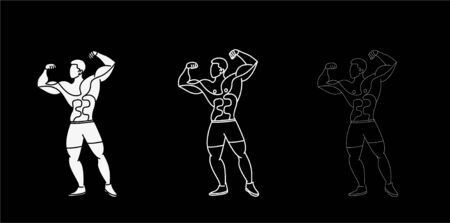 Set of Bodybuilding Sport and activity Line Art drawing, Vector Illustration