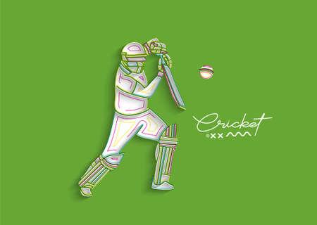 Cricket horizontal banner batsman championship background. Use for cover, poster, template, brochure, decorated, flyer, banner. Ilustração