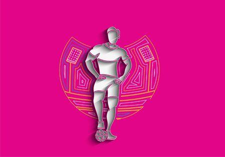 Soccer Player Man Standing - Line Art Design, Vector Illustration. 向量圖像