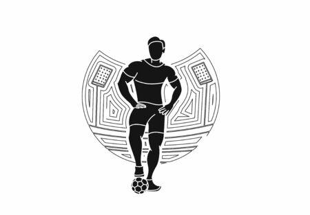 Soccer Player Man Standing - Line Art Design, Vector Illustration. 矢量图像