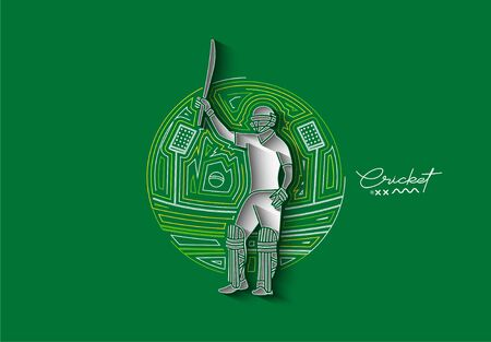 Concept of Batsman playing cricket raises his bat after scoring a full century - championship, Line art design Vector illustration. Ilustração