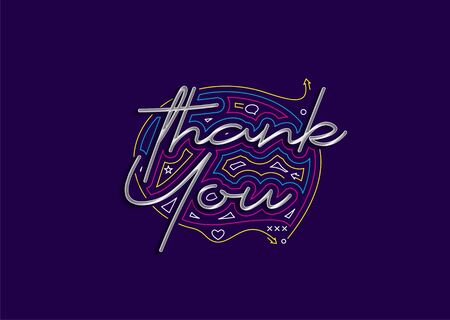 Thank You Calligraphic 3d Style Text Vector illustration Design.
