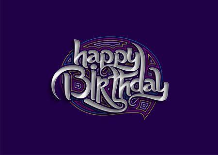 Happy Birthday text made of handwriting vector design element.