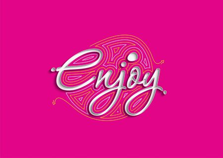 Enjoy Calligraphic 3d Style Text Vector illustration Design.