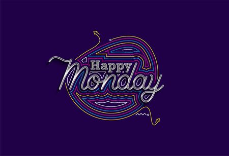 Happy Monday Calligraphic 3d Style Text shopping poster vector illustration Design.