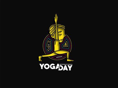 Boy practicing yoga pose, 21st june international yoga day, vector Illusztráció