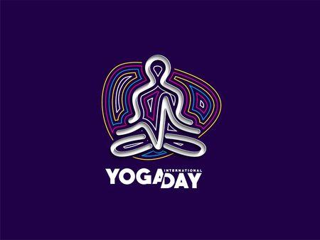 Practicing yoga pose, 21st june international yoga day, vector Design